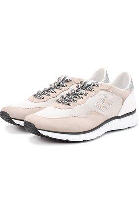 Комбинированные кроссовки на шнуровке | Фото №1