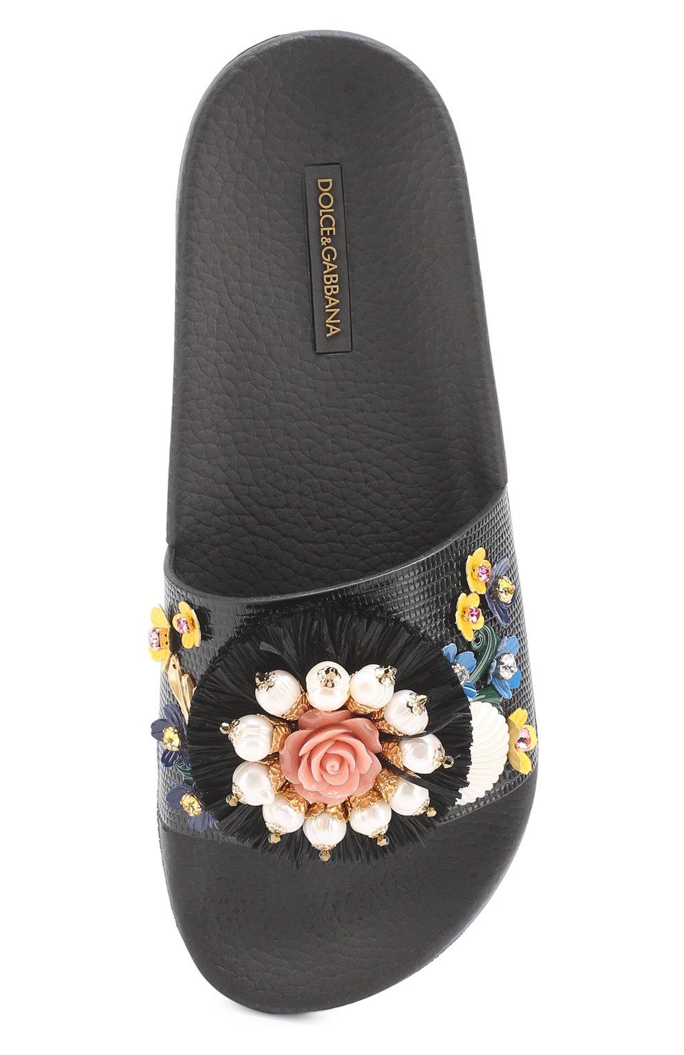 Текстильные шлепанцы с цветочной аппликацией Dolce & Gabbana черные | Фото №4
