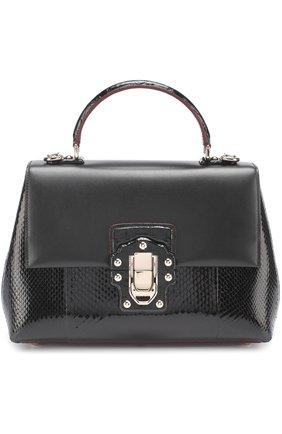 Сумка Lucia с отделкой из кожи питона и каймана Dolce & Gabbana черная цвета | Фото №1