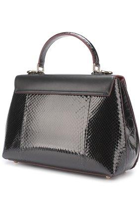 Сумка Lucia с отделкой из кожи питона и каймана Dolce & Gabbana черная цвета | Фото №2