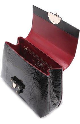 Сумка Lucia с отделкой из кожи питона и каймана Dolce & Gabbana черная цвета | Фото №3