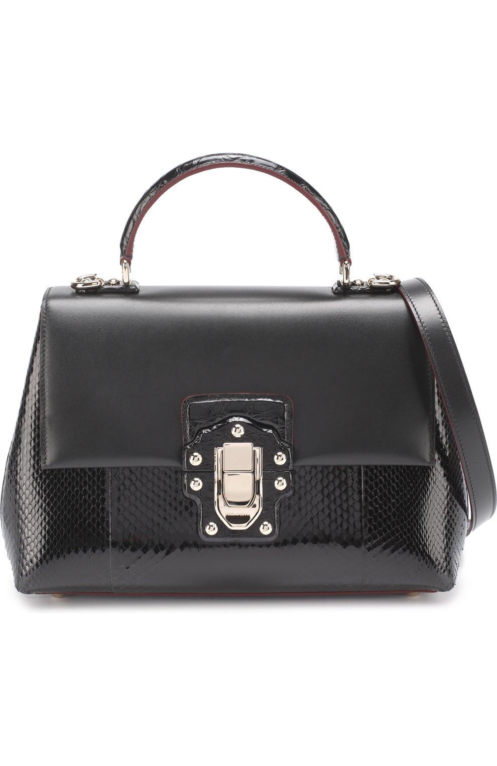 Сумка Lucia с отделкой из кожи питона и каймана Dolce & Gabbana черная цвета | Фото №4