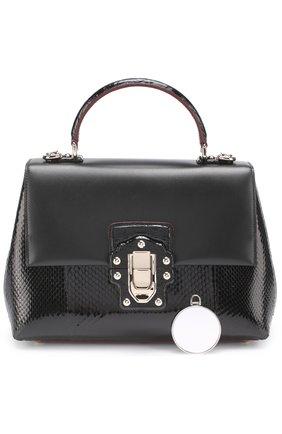 Сумка Lucia с отделкой из кожи питона и каймана Dolce & Gabbana черная цвета | Фото №5