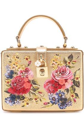 Сумка Dolce Box с росписью Dolce & Gabbana золотого цвета   Фото №1