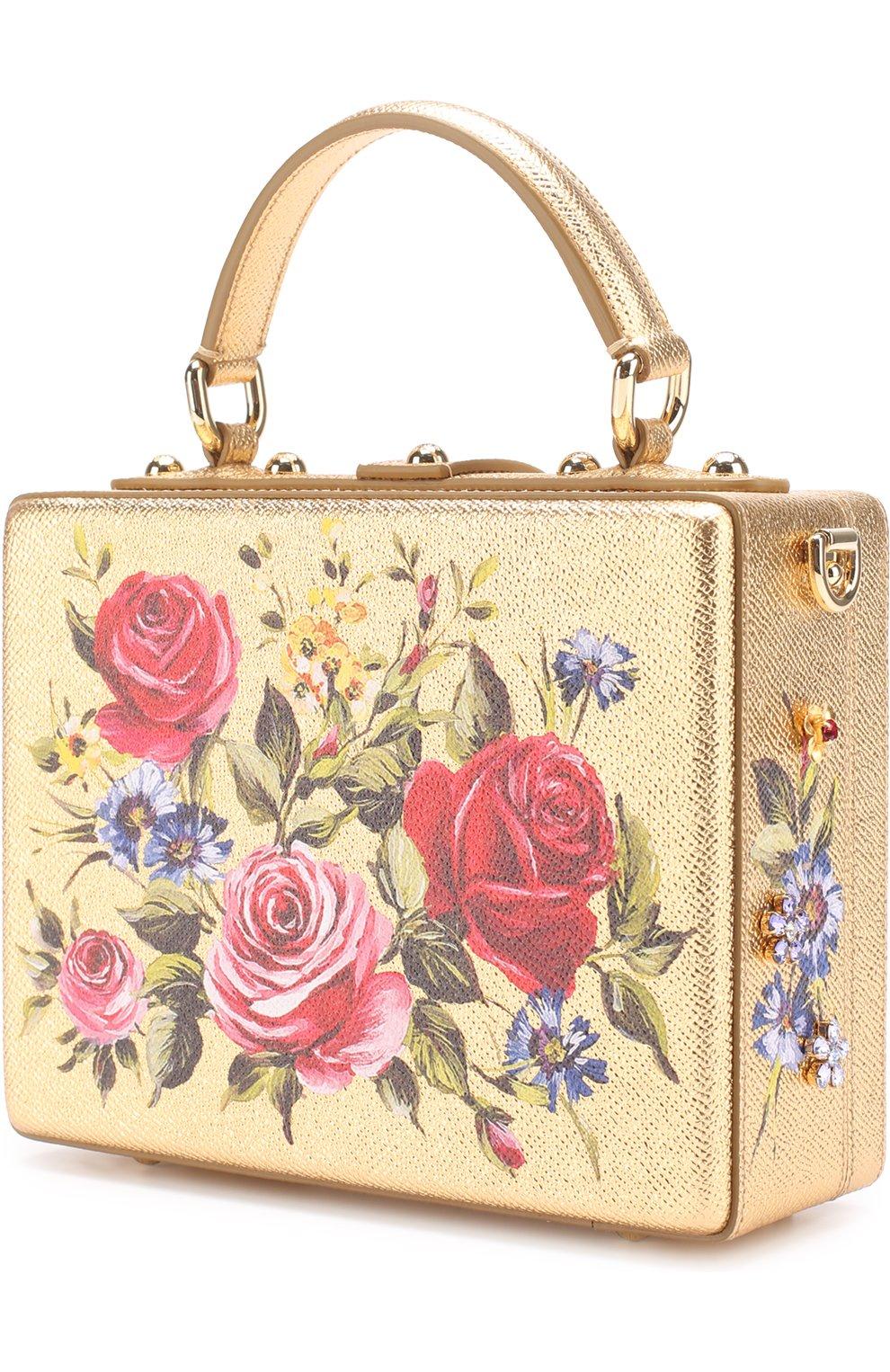 Сумка Dolce Box с росписью Dolce & Gabbana золотого цвета   Фото №2