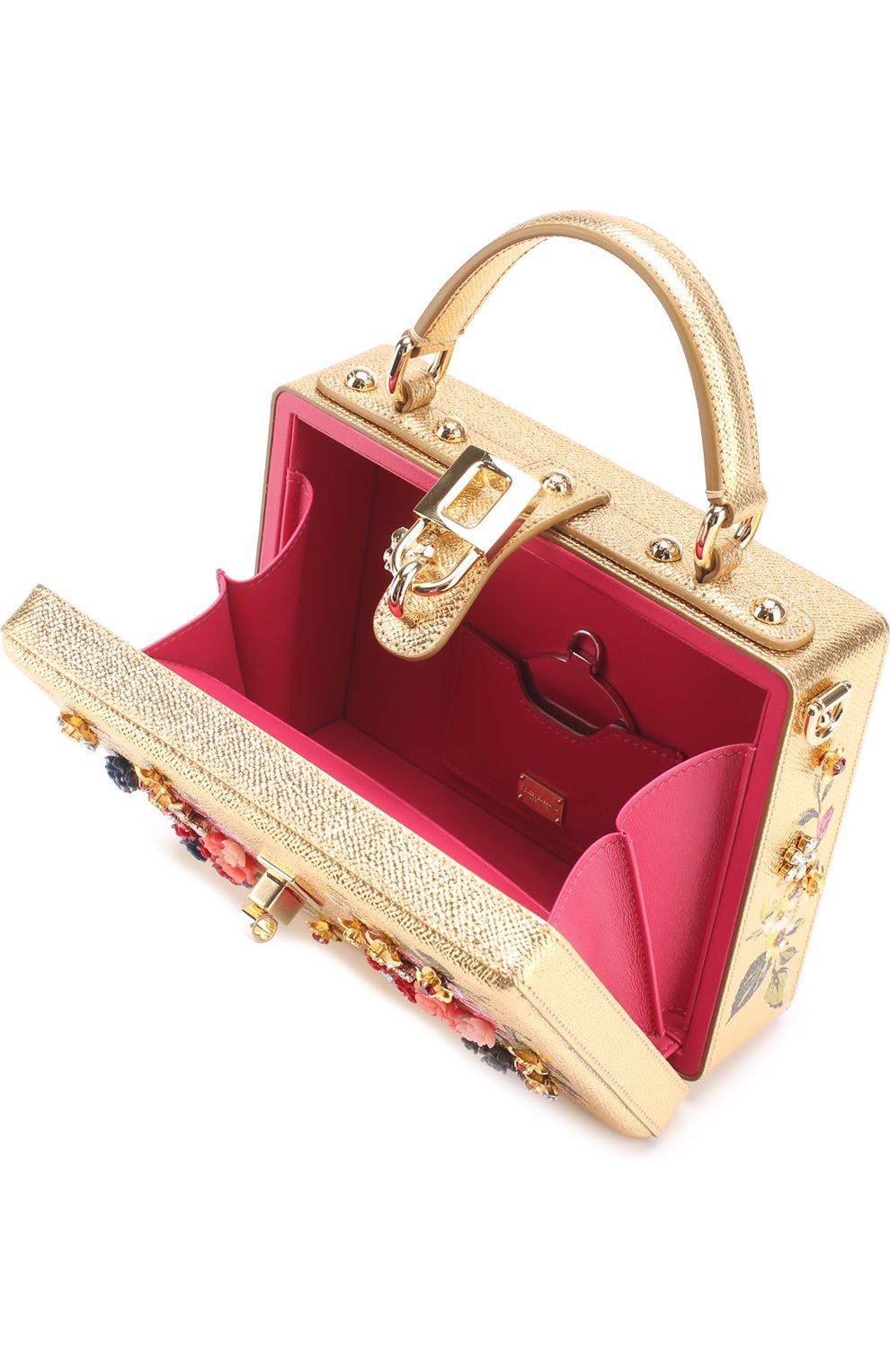 Сумка Dolce Box с росписью Dolce & Gabbana золотого цвета   Фото №3
