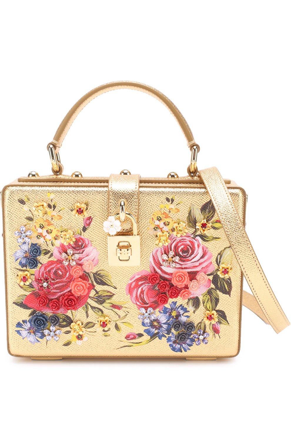 Сумка Dolce Box с росписью Dolce & Gabbana золотого цвета   Фото №4
