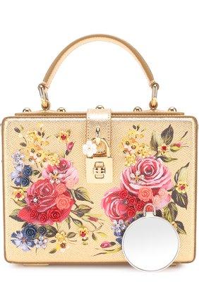 Сумка Dolce Box с росписью Dolce & Gabbana золотого цвета   Фото №5