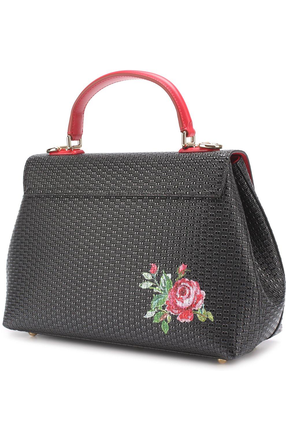 Сумка Lucia medium с принтом Dolce & Gabbana черная цвета | Фото №2