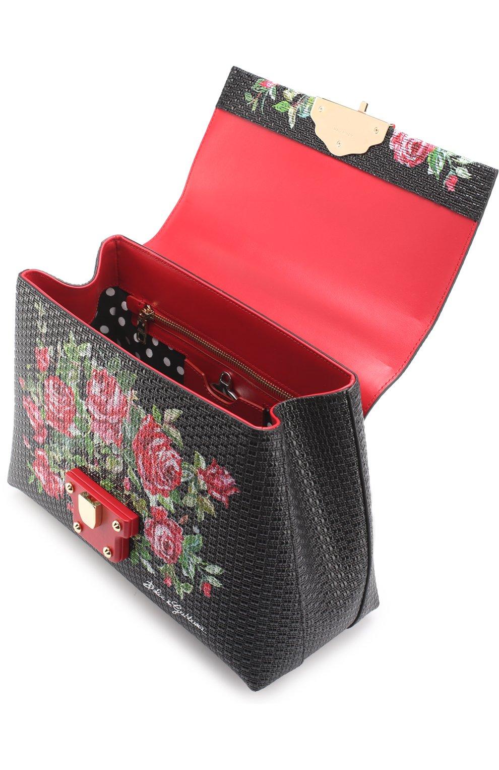 Сумка Lucia medium с принтом Dolce & Gabbana черная цвета | Фото №3
