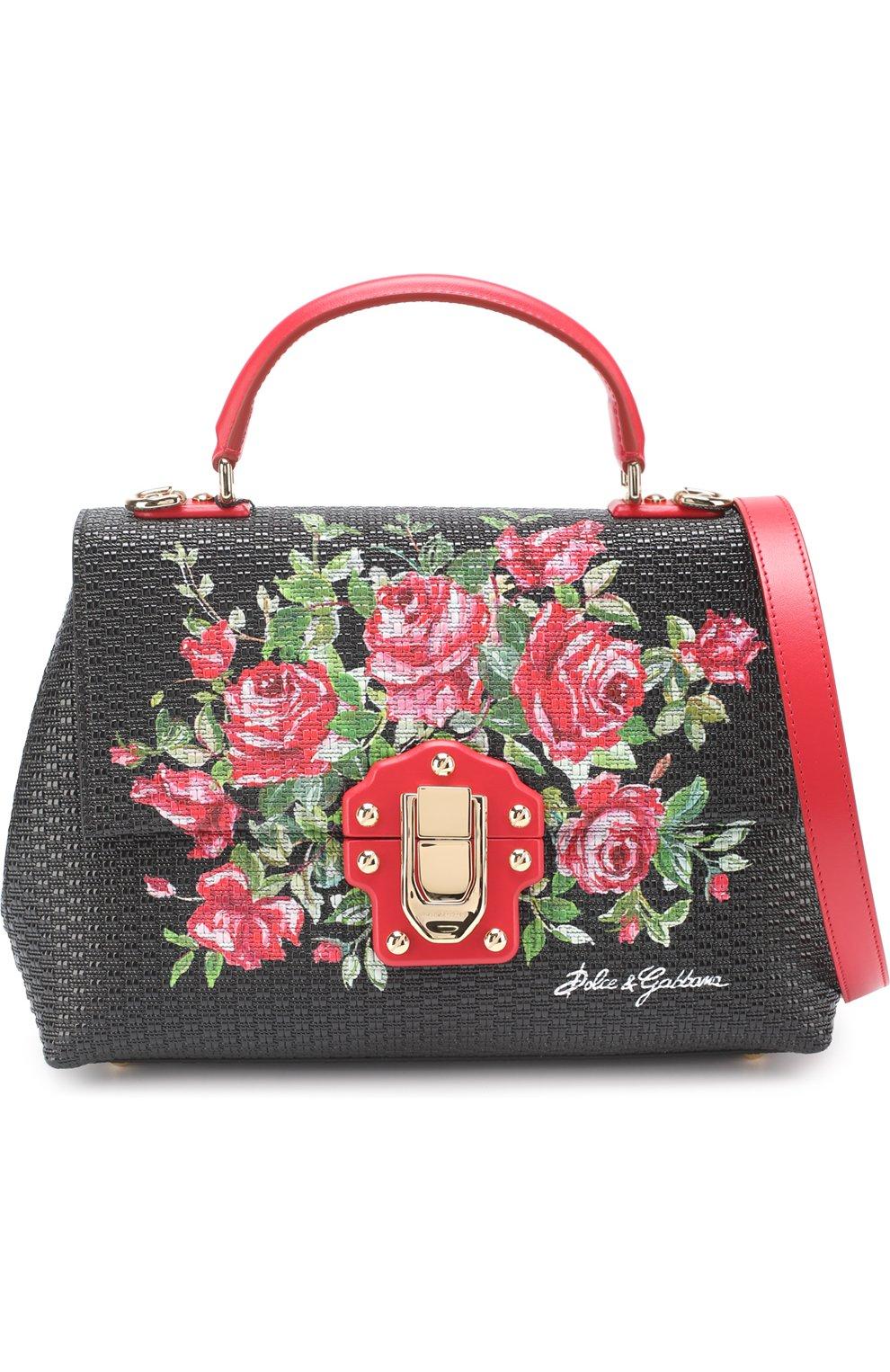 Сумка Lucia medium с принтом Dolce & Gabbana черная цвета | Фото №4
