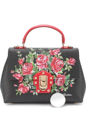 Сумка Lucia medium с принтом Dolce & Gabbana черная цвета | Фото №5