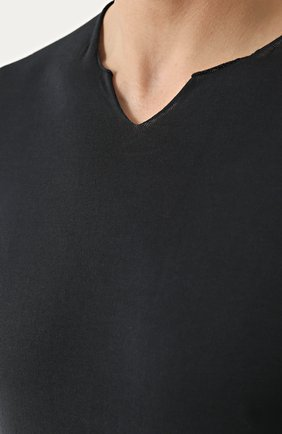 Хлопковый джемпер тонкой вязки с V-образным вырезом   Фото №5