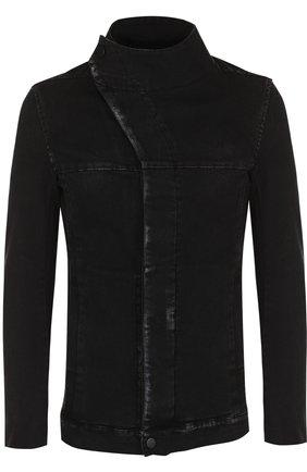 Джинсовая куртка с декоративной отделкой и косой застежкой