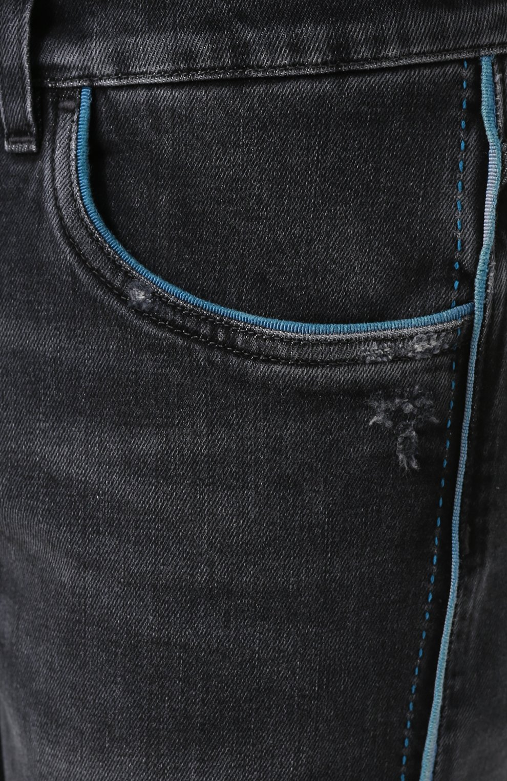 Джинсы прямого кроя с контрастной отделкой Dolce & Gabbana серые | Фото №5