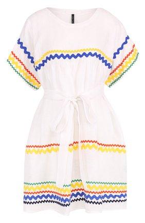 Хлопковое мини-платье с контрастной отделкой | Фото №1