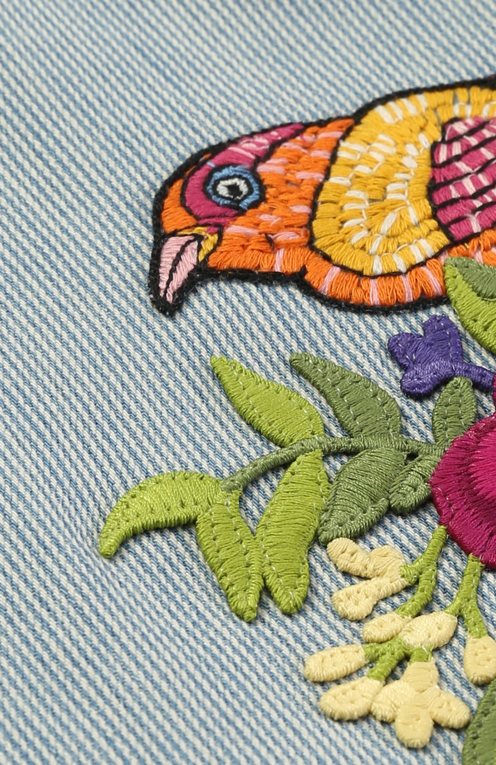 Женский сарафан из денима и контрастной аппликацией GUCCI голубого цвета, арт. 457153/XR441   Фото 3