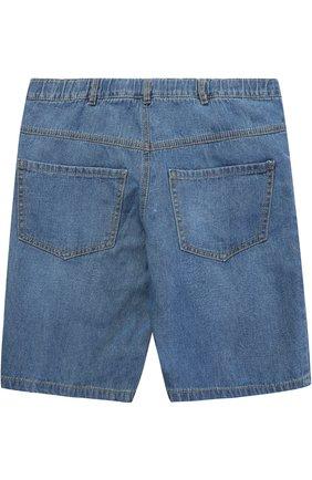 Детские джинсовые шорты с эластичной вставкой на поясе Sticky-Fudge синего цвета   Фото №1