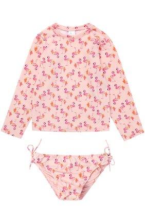 Комплект для плавания из лонгслива и трусов Egg By Susan Lazar розового цвета | Фото №1