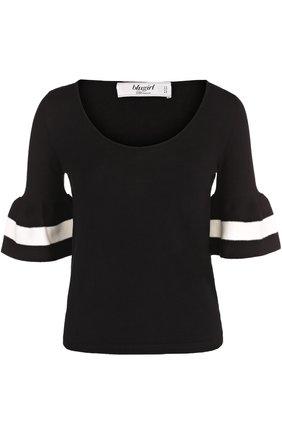 Топ с круглым вырезом и расклешенными рукавами Blugirl черно-белый | Фото №1