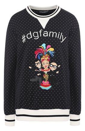 Свитшот с контрастными манжетами и нашивкой Dolce & Gabbana черно-белый | Фото №1