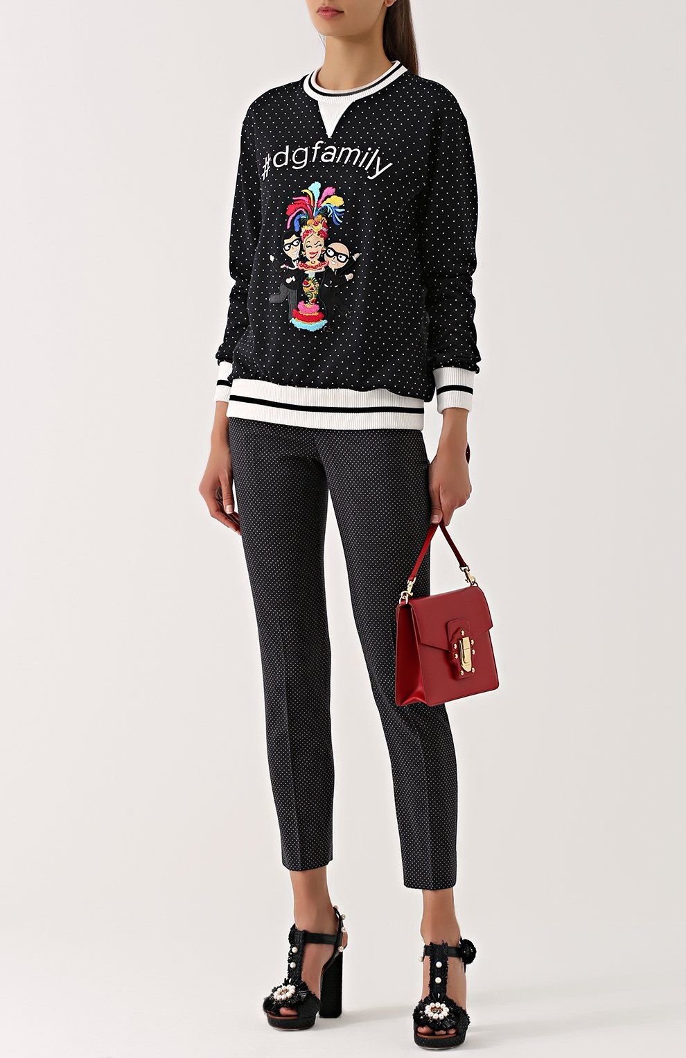 Свитшот с контрастными манжетами и нашивкой Dolce & Gabbana черно-белый | Фото №2