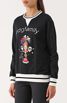Свитшот с контрастными манжетами и нашивкой Dolce & Gabbana черно-белый | Фото №3