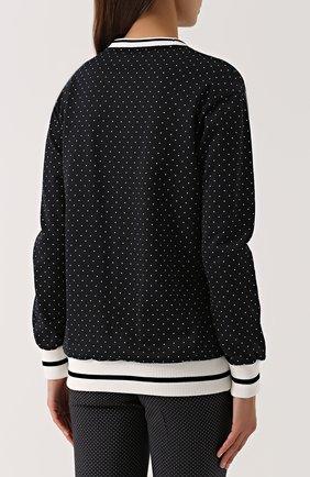 Свитшот с контрастными манжетами и нашивкой Dolce & Gabbana черно-белый | Фото №4
