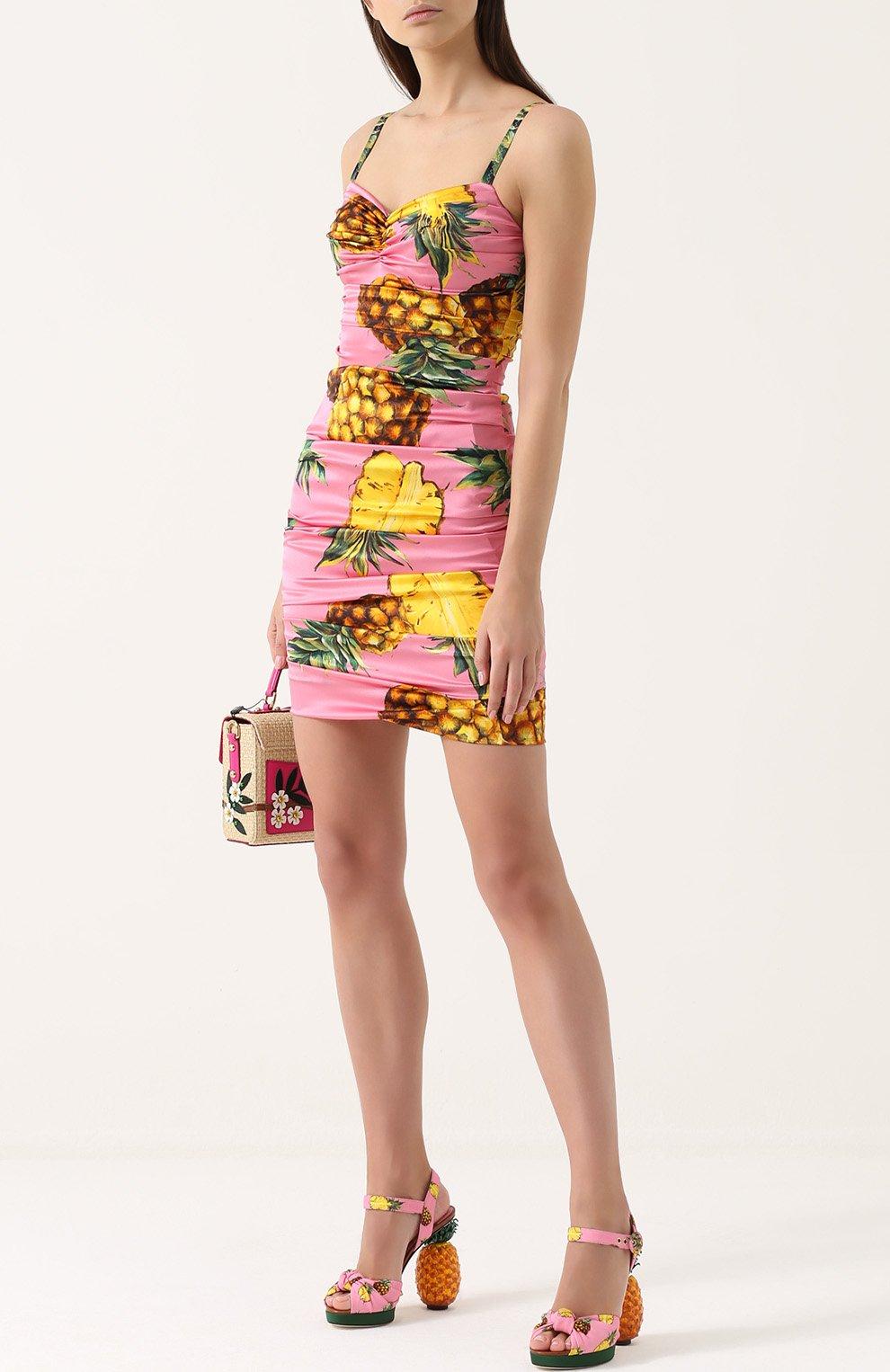 Шелковое мини-платье с драпировкой и принтом Dolce & Gabbana розовое   Фото №2