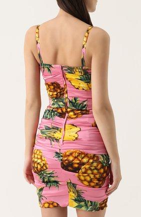 Шелковое мини-платье с драпировкой и принтом Dolce & Gabbana розовое   Фото №4