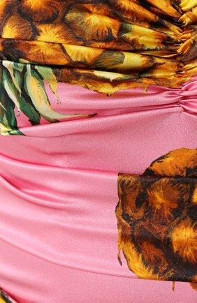 Шелковое мини-платье с драпировкой и принтом Dolce & Gabbana розовое   Фото №5