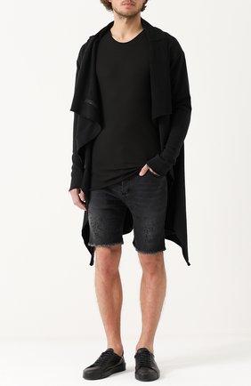 Удлиненная хлопковая футболка MD 75 черная | Фото №1