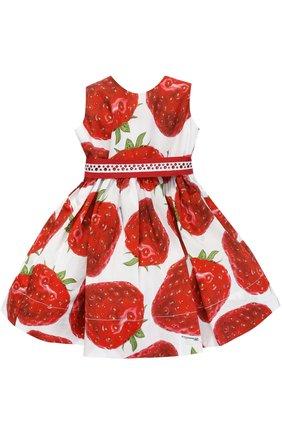 Хлопковое платье с принтом и поясом со стразами | Фото №1