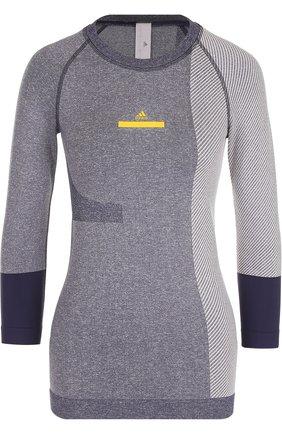 Спортивный топ с укороченным рукавом adidas by Stella McCartney серого цвета | Фото №1