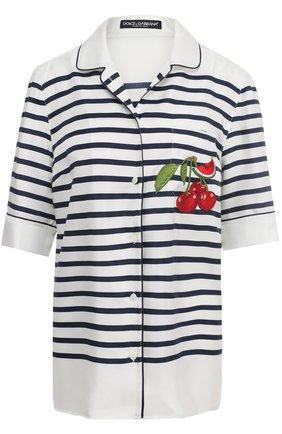 Шелковая блуза в пижамном стиле в полоску Dolce & Gabbana синяя   Фото №1
