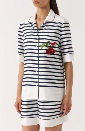 Шелковая блуза в пижамном стиле в полоску Dolce & Gabbana синяя   Фото №3