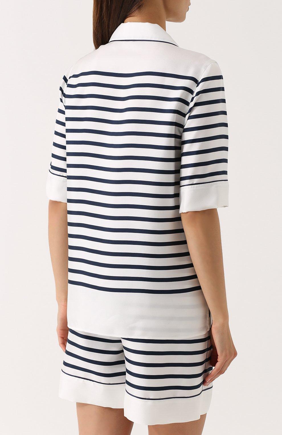 Шелковая блуза в пижамном стиле в полоску Dolce & Gabbana синяя   Фото №4