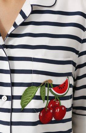 Шелковая блуза в пижамном стиле в полоску Dolce & Gabbana синяя   Фото №5