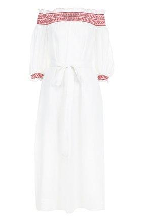 Льняное платье с открытыми плечами | Фото №1