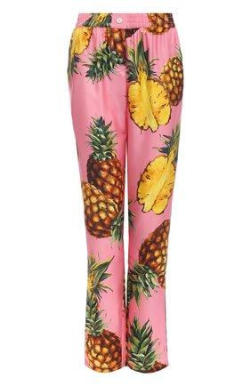 Шелковые брюки с принтом в виде ананасов Dolce & Gabbana розовые | Фото №1