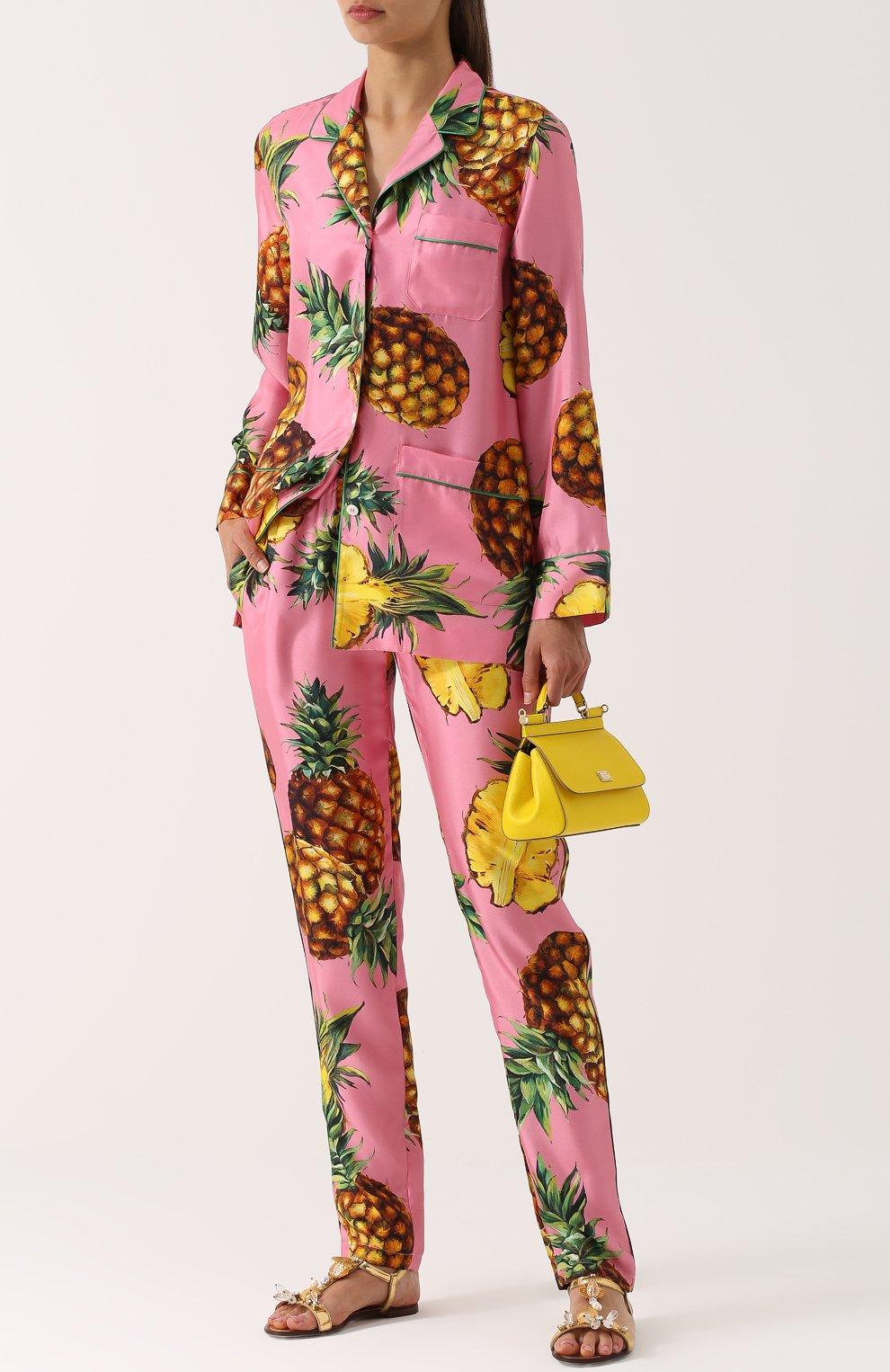 Шелковые брюки с принтом в виде ананасов Dolce & Gabbana розовые | Фото №2