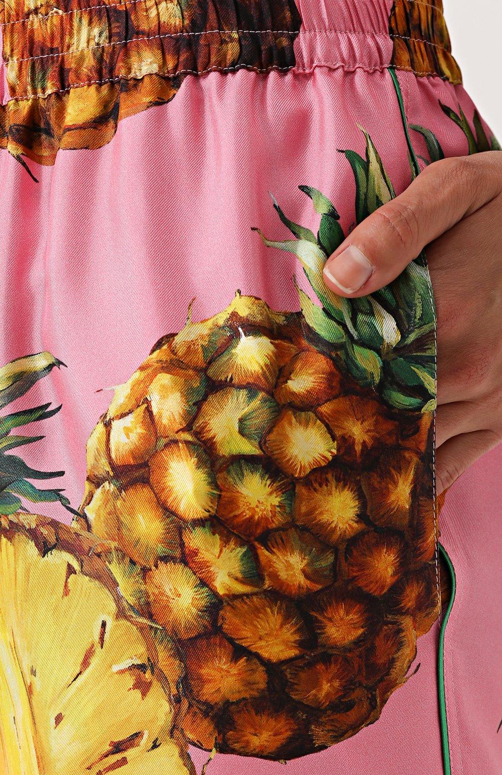 Шелковые брюки с принтом в виде ананасов Dolce & Gabbana розовые | Фото №5