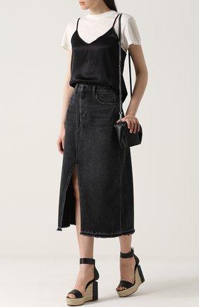 Джинсовая юбка-миди с высоким разрезом Denim X Alexander Wang серая | Фото №1