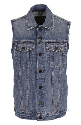 Удлиненный джинсовый жилет с потертостями | Фото №1