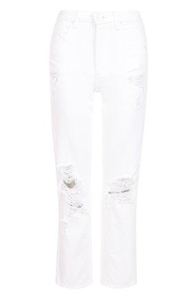 Укороченные джинсы с потертостями Denim X Alexander Wang белые | Фото №1