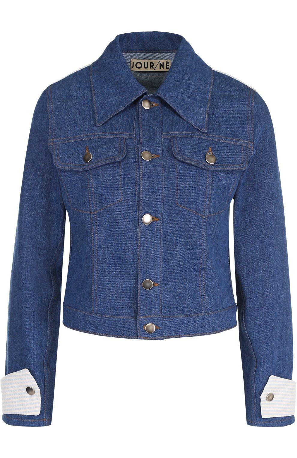 Джинсовая куртка с накладным воротником и контрастной отделкой Jour/ne синяя | Фото №1