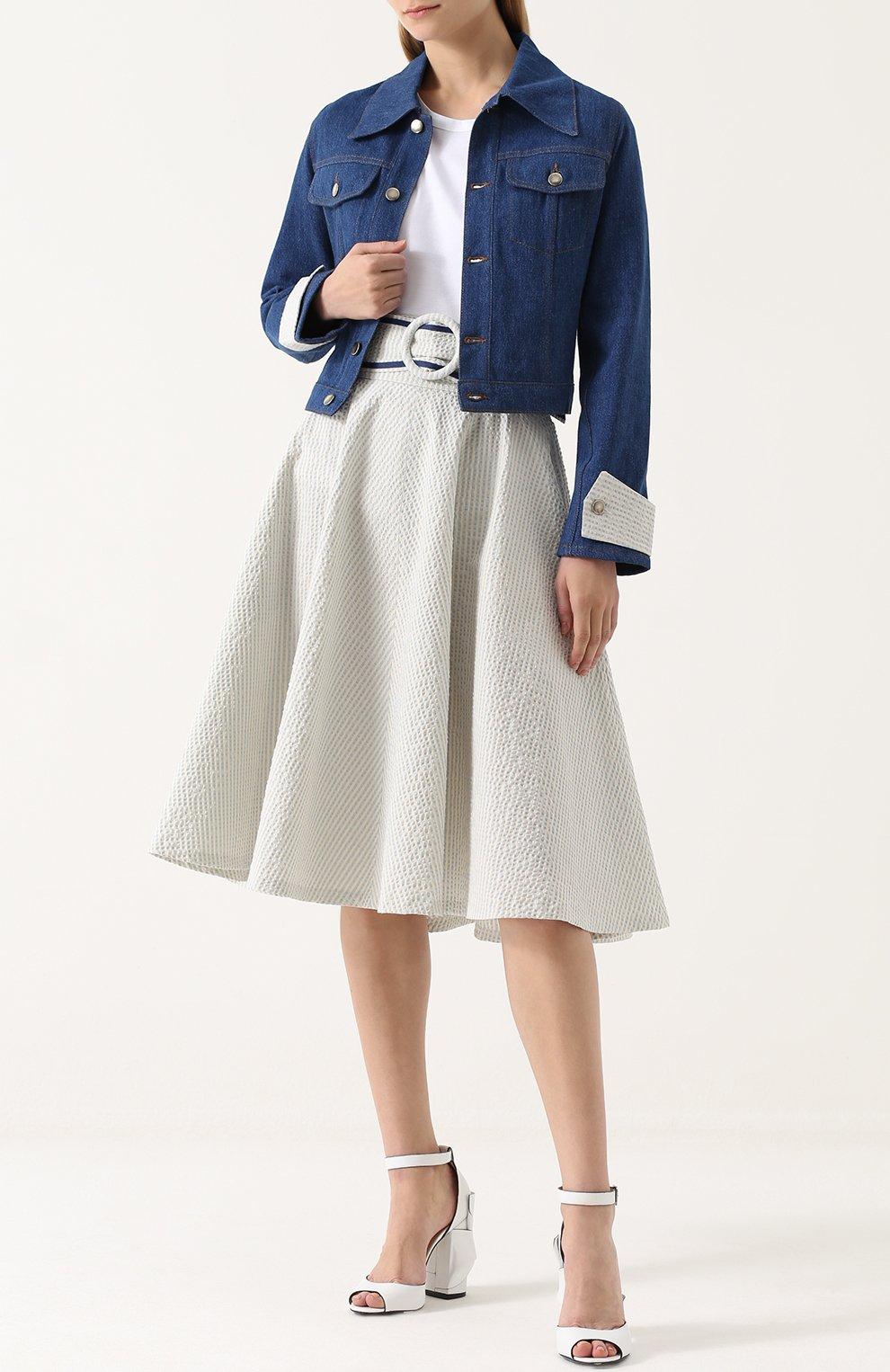 Джинсовая куртка с накладным воротником и контрастной отделкой Jour/ne синяя | Фото №2