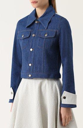 Джинсовая куртка с накладным воротником и контрастной отделкой Jour/ne синяя | Фото №3