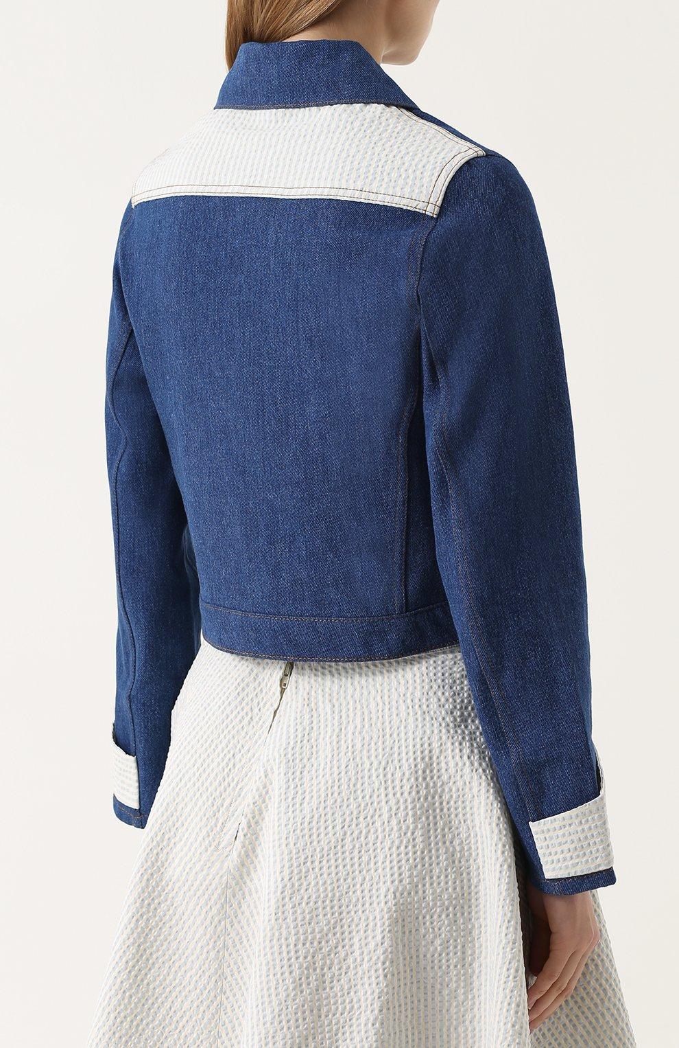Джинсовая куртка с накладным воротником и контрастной отделкой Jour/ne синяя | Фото №4