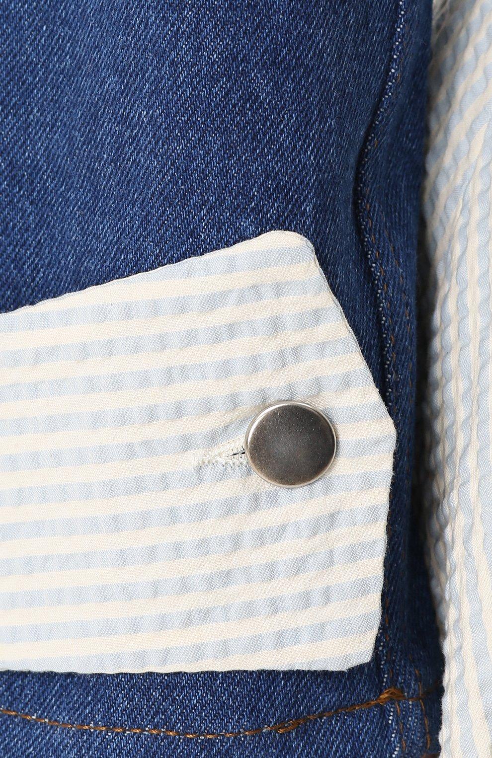 Джинсовая куртка с накладным воротником и контрастной отделкой Jour/ne синяя | Фото №5